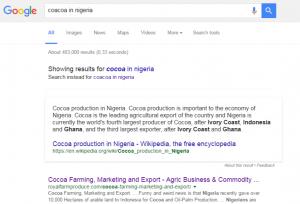 'Cocoa in Nigeria' Google search result